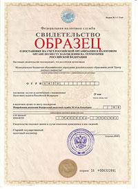 Свидетельство о государственной регистрации образец
