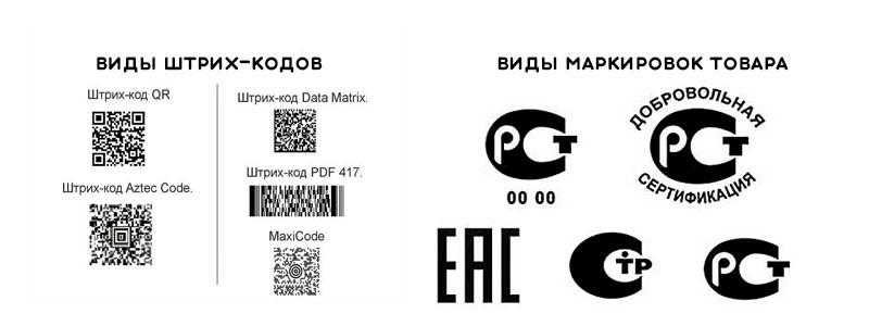 Виды маркировок и штрих-кодов